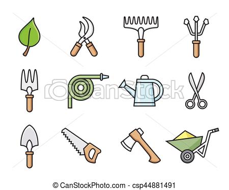 450x373 Gardening Tools Icons. Gardening Tools Icon Set. Vector Eps