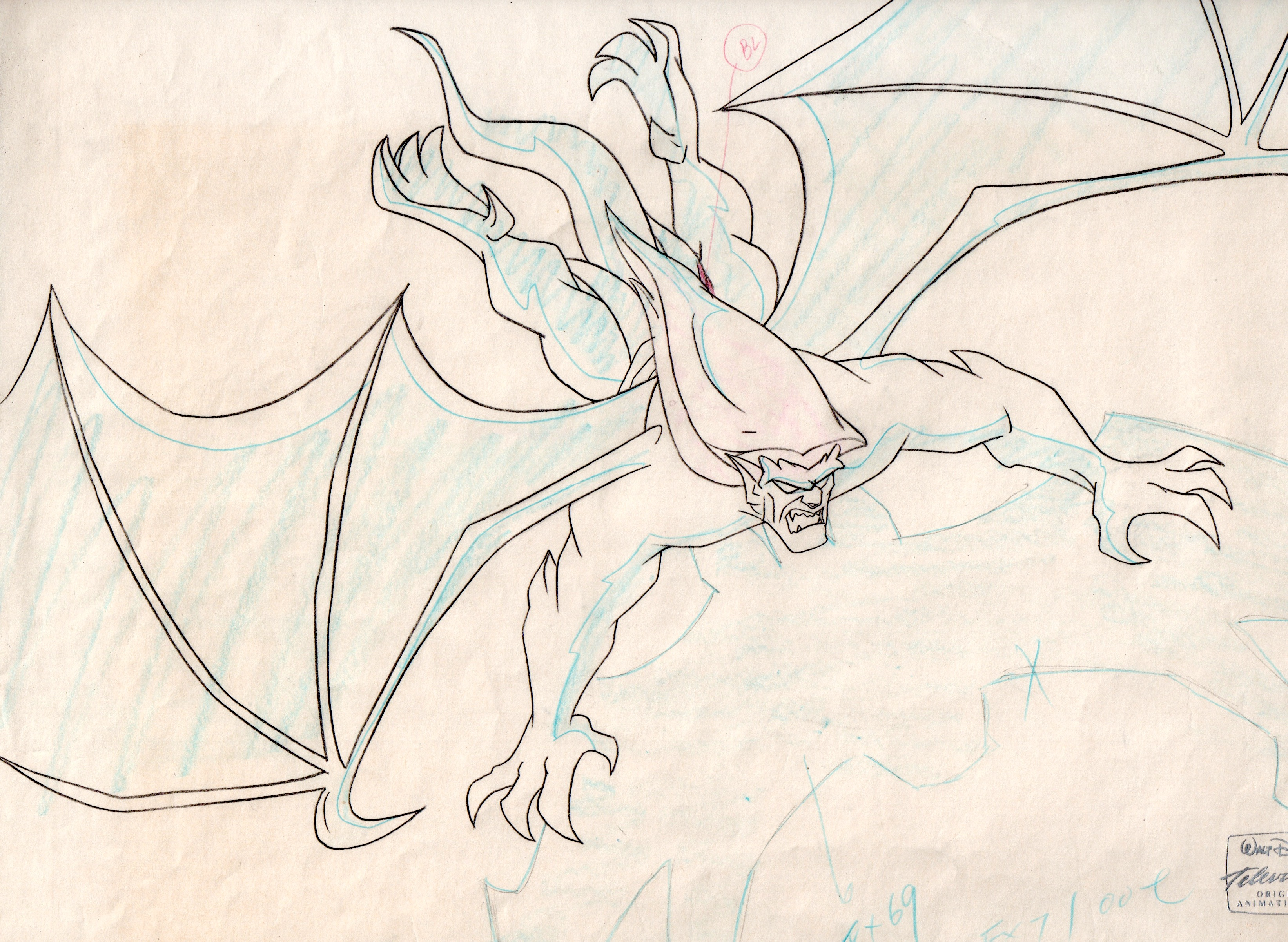 3286x2404 Goliath Gargoyles Original Production Cel Matching Drawing Disney Tv