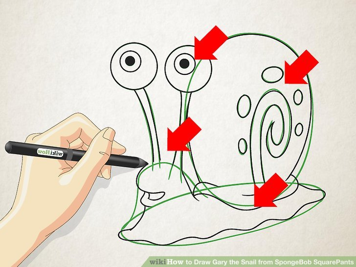 728x546 How To Draw Gary The Snail From Spongebob Squarepants 6 Steps