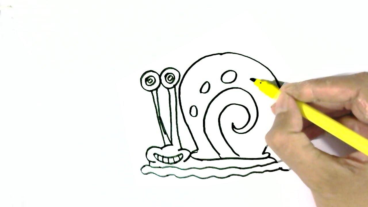 1280x720 How To Draw Gary The Snail Spongebob Squarepants Easy Steps