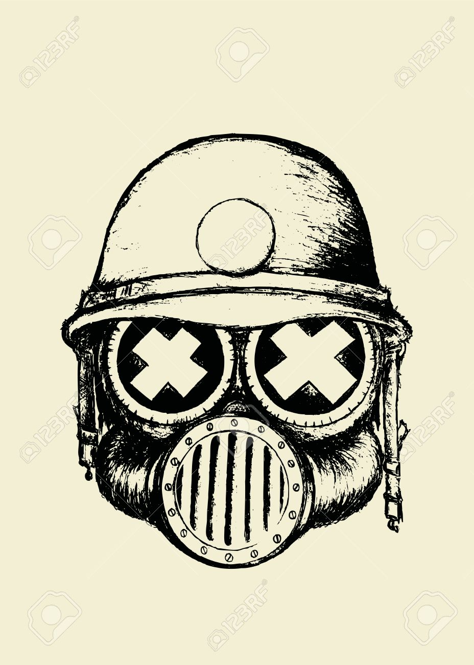 928x1300 War Skull.unusual Cartoon Style Skull With Gas Mask And Helmet