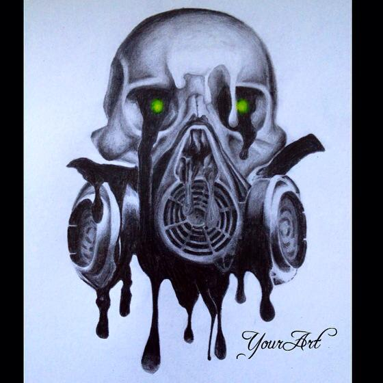 560x560 Skull With Gas Mask By Merle Bobi