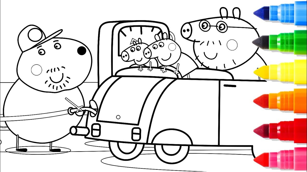 1280x720 Gas Station Baby Drawing Pages How To Draw Peppa Pig Coloring Book