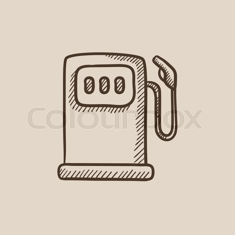800x800 Gas Station Sketch Icon For Web, Mobile And Infographics. Hand