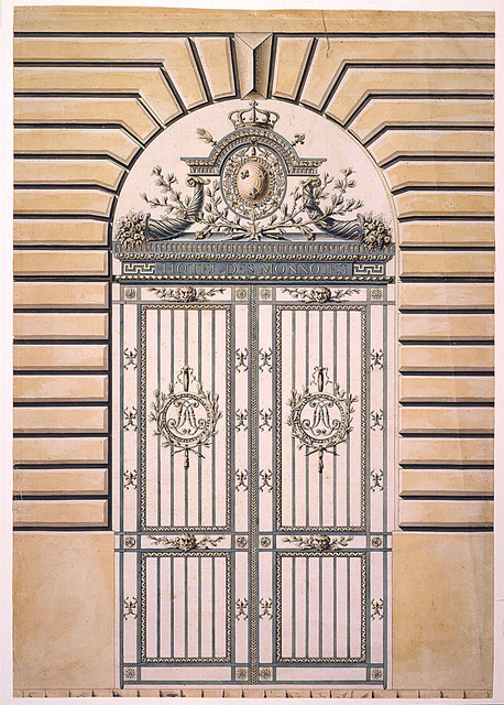 458x640 Tombstone Drawing, Iron Gates Of The Mint, Paris, Ca. 1776