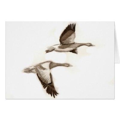 400x400 Goose In Flight Drawing Card Zazzle.co.uk
