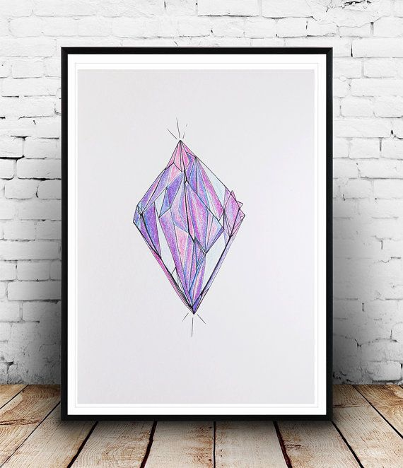 570x662 Original Pencil And Ink Drawing Gemstone By Bohemianinkstudios