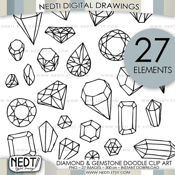 570x570 Diamond And Gemstone Doodle Clip Art Jewelry Clipart