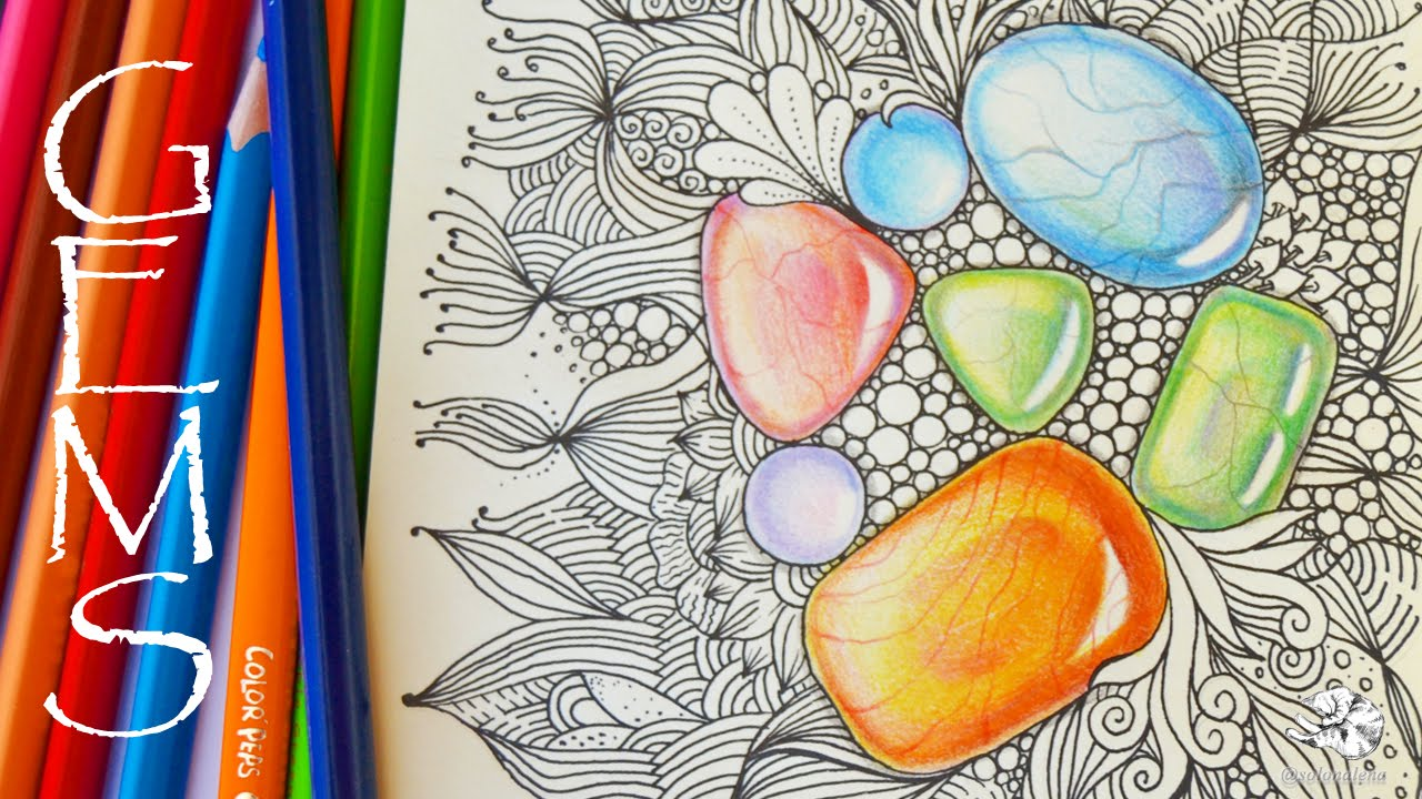 1280x720 How To Draw Gems Colored Pencil Tutorial Zentangle Inspired