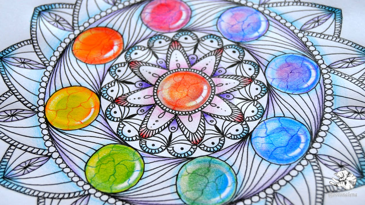 1280x720 How To Draw Mandala With Rainbow Gems Colored Pencil Tutorial