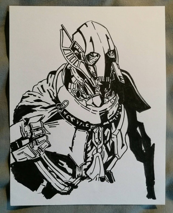 570x701 Items Similar To Star Wars General Grievous Ink Drawing On Etsy