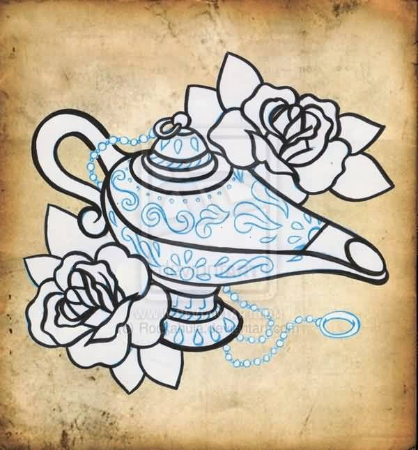 600x645 Famous Genie Lamp Drawing Tattoo Design