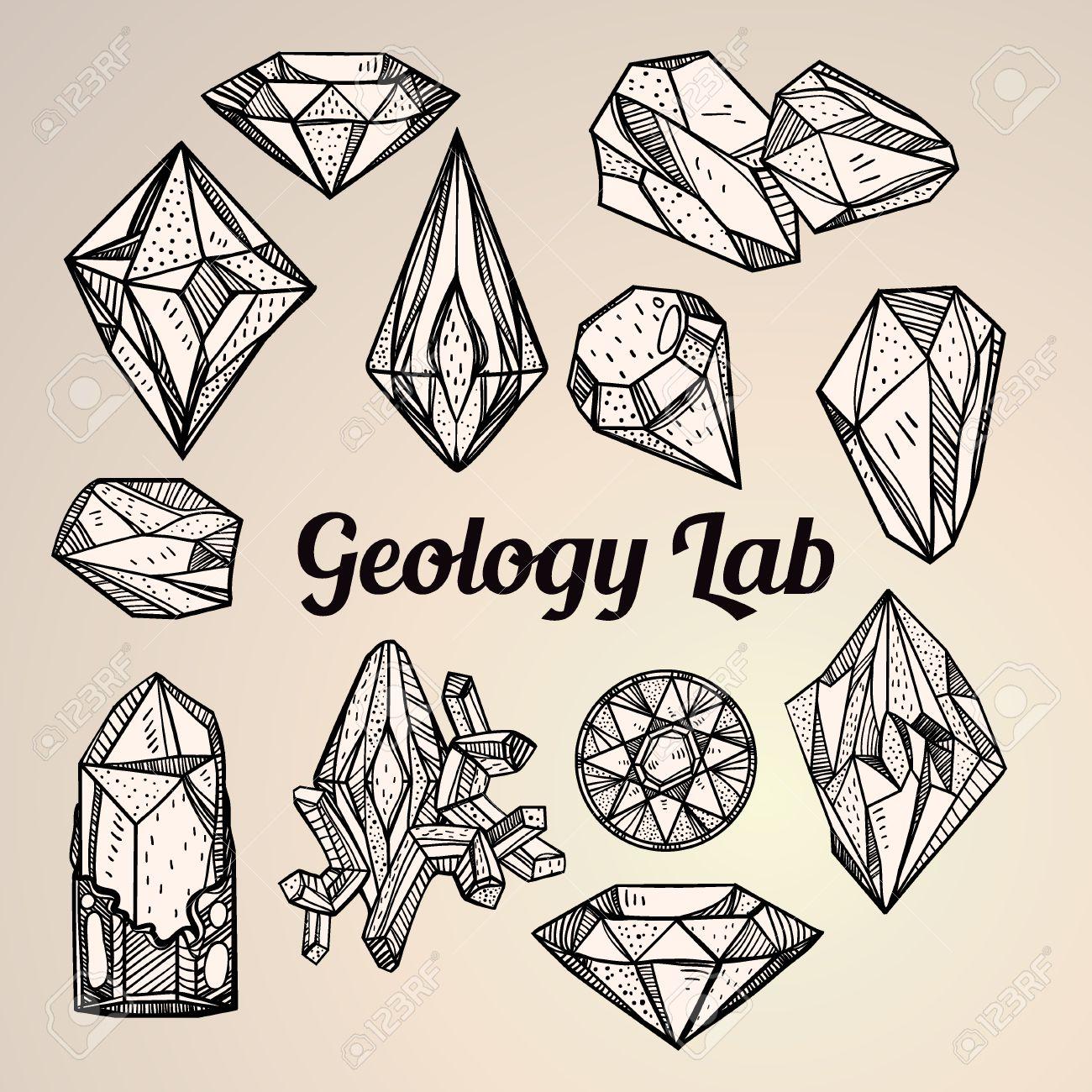 1300x1300 Set Of Hand Drawn Crystal Gems. Geometric Linear Gemstone. Trendy
