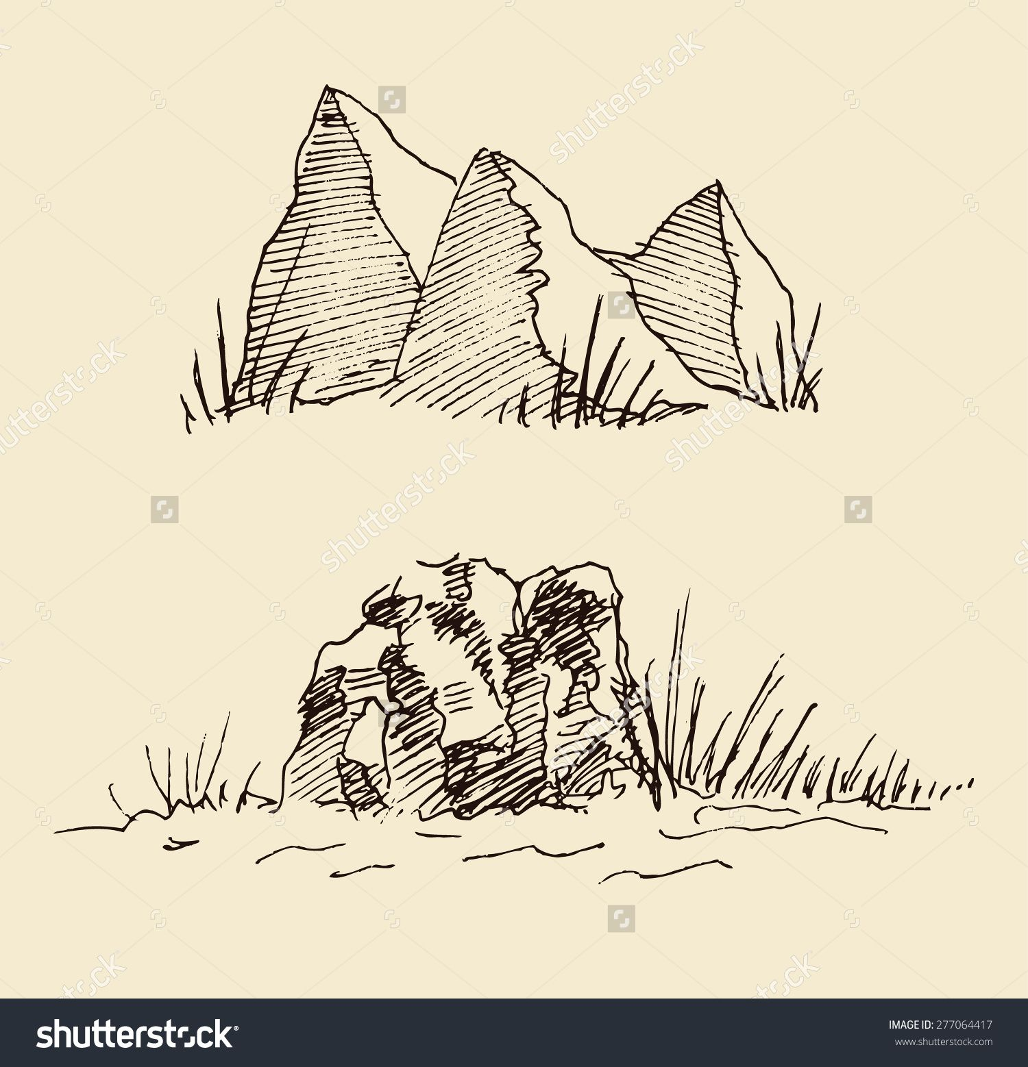 1500x1558 Stock Vector Mountain Scenery Stones Rocks Boulders And Geology