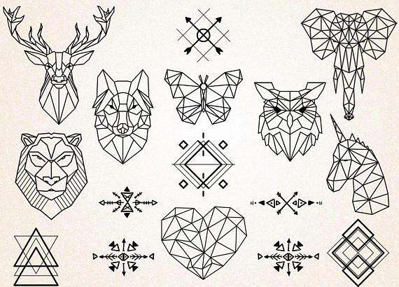 570x410 Geometric Tattoos Clipartgeometric Animals Clipartanimals