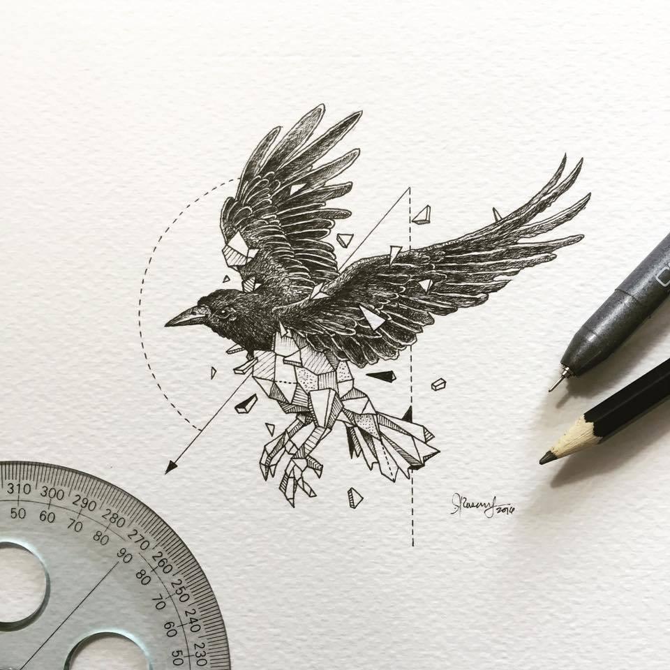 960x960 Lovely Half Geometrical Drawings Of Wild Animals Fubiz Media