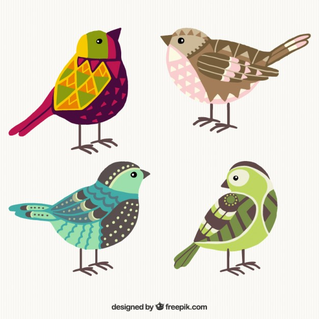 626x626 Hand Drawn Colorful Geometric Birds Vector Free Download