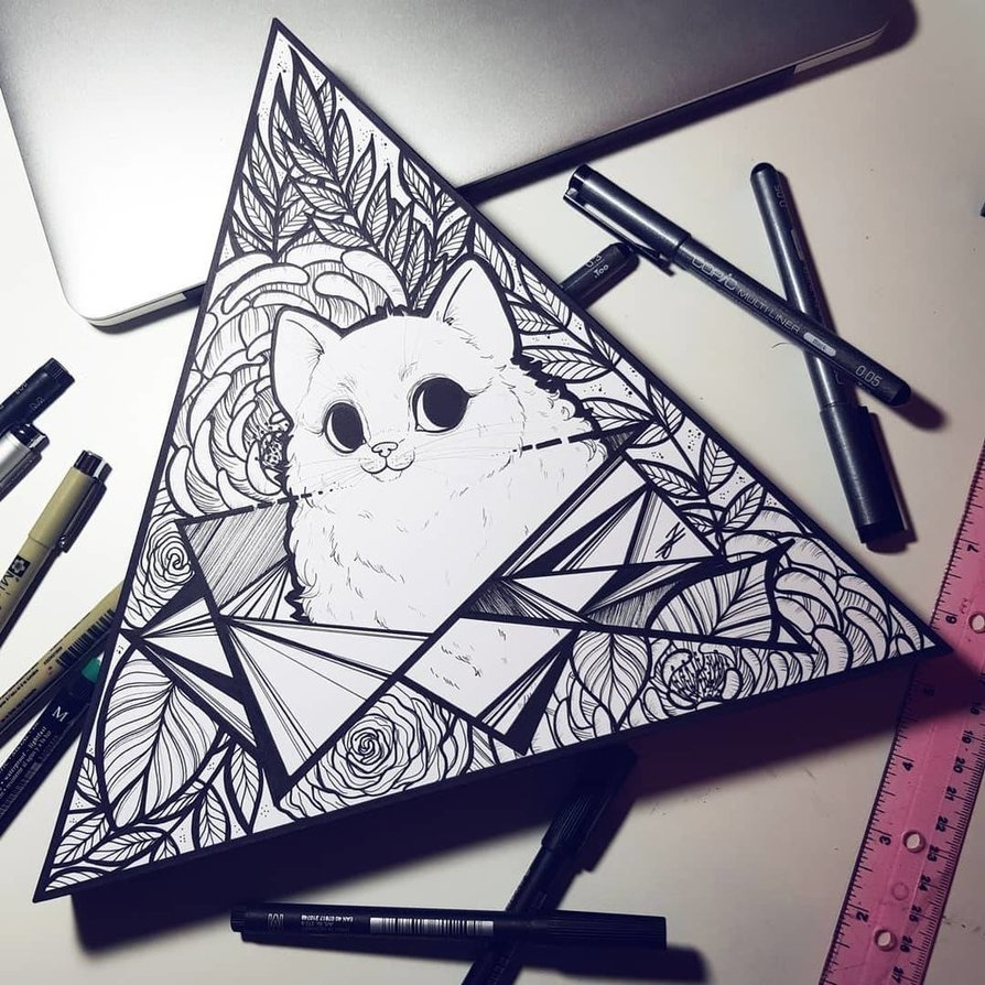 894x894 Geometric Cat Flower Drawingpainting By Caspalpo