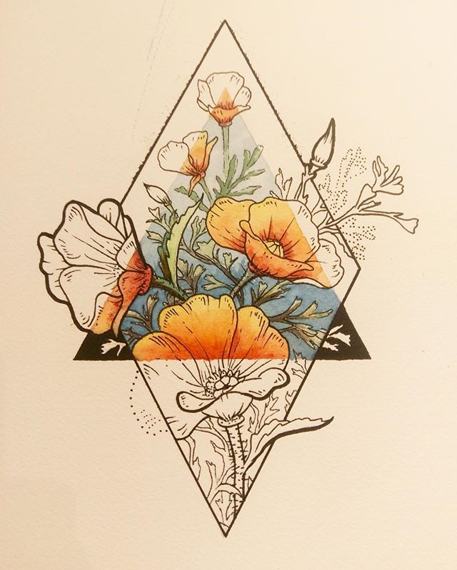 640x799 Geometric Flower Drawing Design Birth Flowers