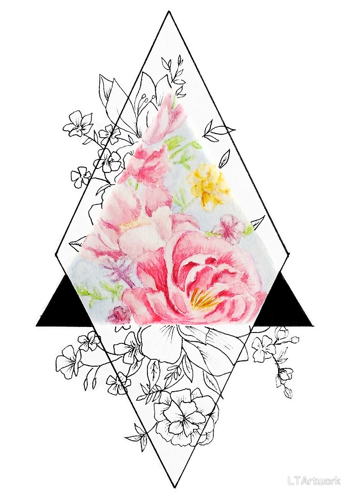 707x1000 Geometric Flowers By Ltartwork Redbubble