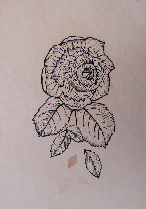 558x800 Tattooed Leather Art. Geometric Flower 1 A5 Little Leather Veneer)