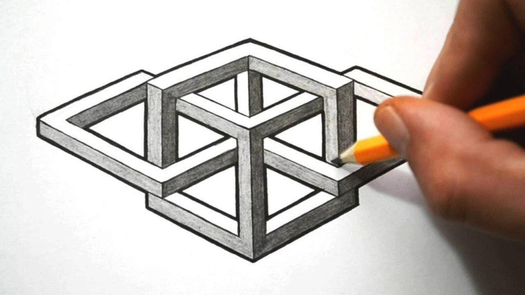 1024x576 Drawing 3d Geometric Shapes How To Draw A Complex Impossible Shape