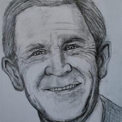250x250 George W. Bush Drawing, Pencil, Sketch, Colorful, Realistic Art
