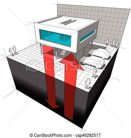 447x470 Geothermal Energy Diagram. Diagram Of A Modern House Or Vector