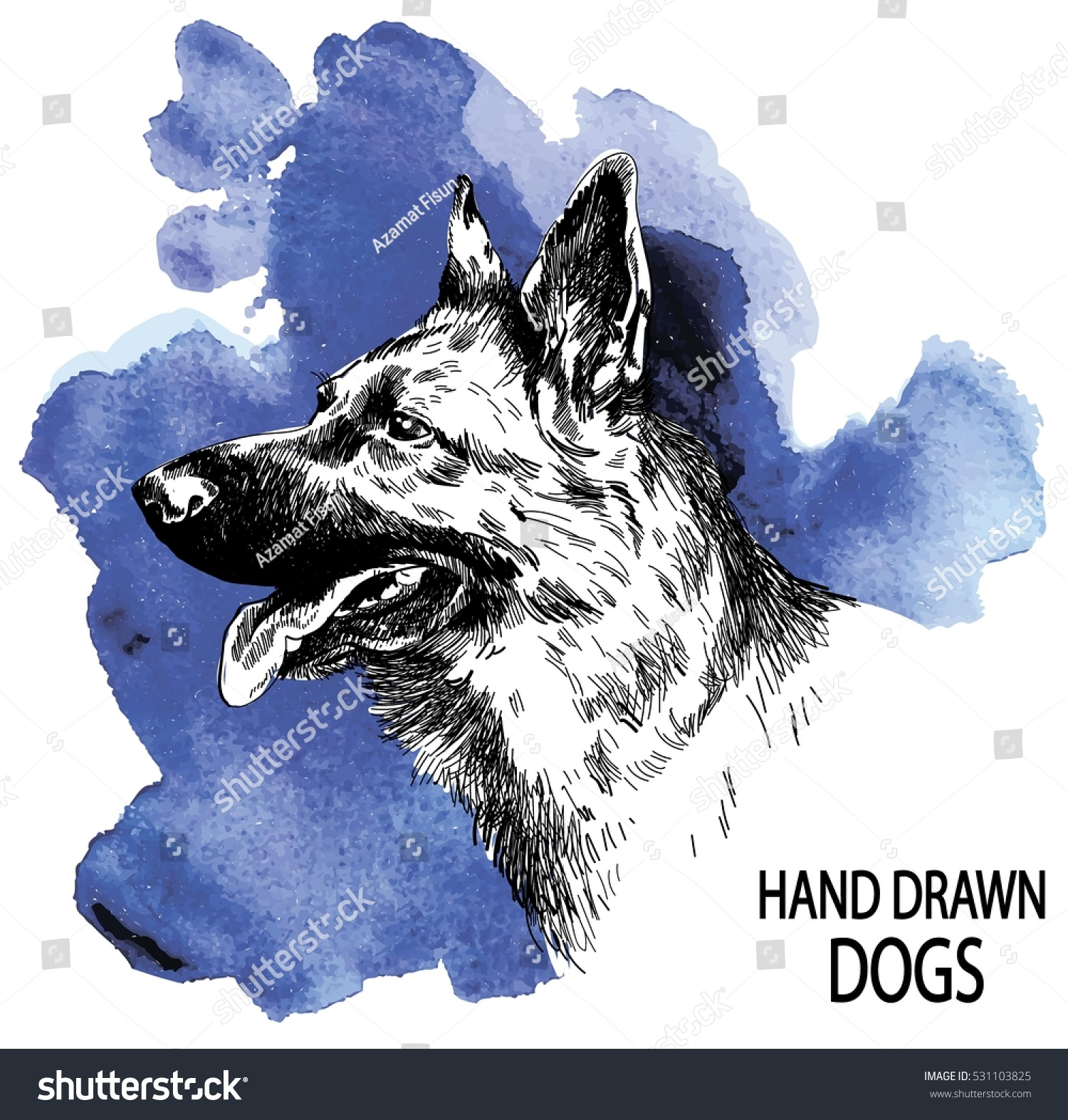 1500x1573 German Shepherd. Dog Head Freehand Drawing In Vintage Style. Dog