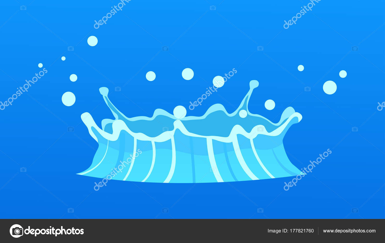 1600x1009 Blue Geyser Flow Of Water From Under Earth Drawing Stock Vector