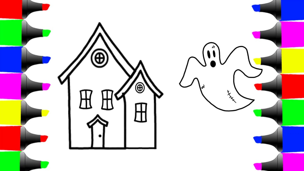 1280x720 How To Draw Halloween House Ghost Coloring Pages For Kids Learn