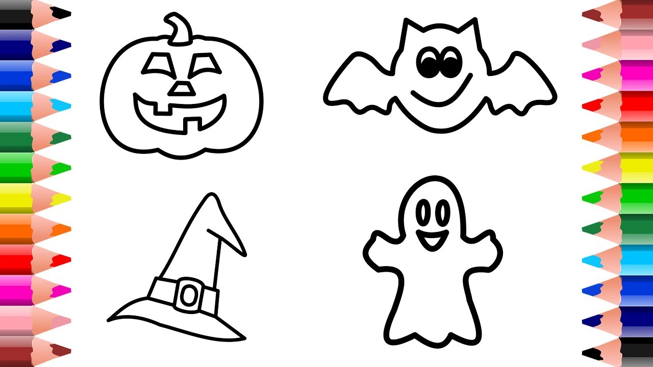1280x720 How To Draw Halloween Pumpkin, Bat, Ghost, Hat For Baby Coloring