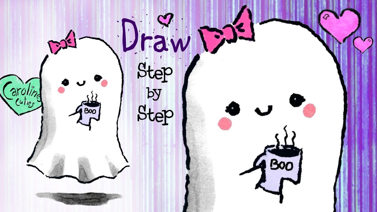 1280x720 How To Draw A Cute Ghost, Step By Step Kawaii Ghost Drawing