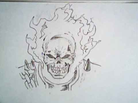 480x360 Ghost Rider Drawing (Frontal Face, Marvel Comics)
