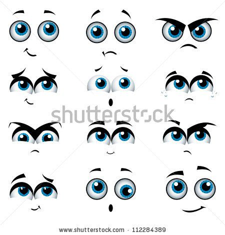 450x470 Cartoon Faces With Various Expressions, Vector Illustration By