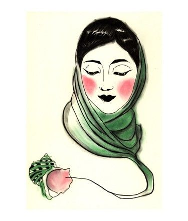 375x441 Fashion Drawing The Ghost Of A Green Turban Shell