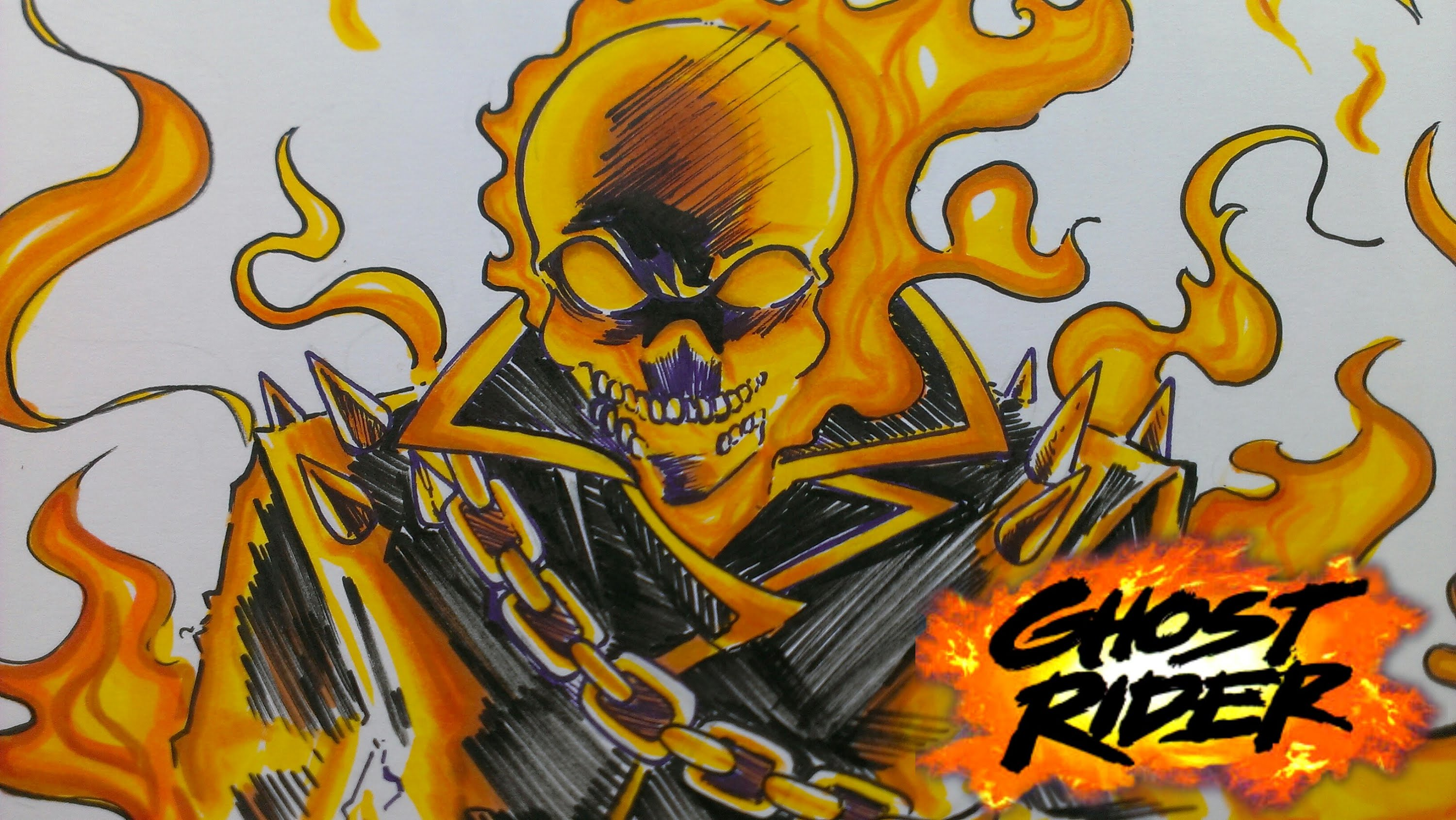 3000x1691 Drawing Marvel Ghost Rider