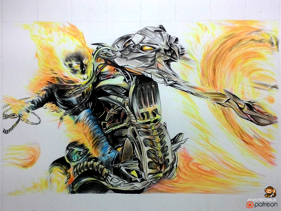 900x675 Ghost Rider (Color Pencil Drawing) By Ankredible