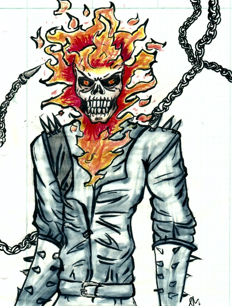 780x1025 Ghost Rider Marker Drawing By Bloodyrose11