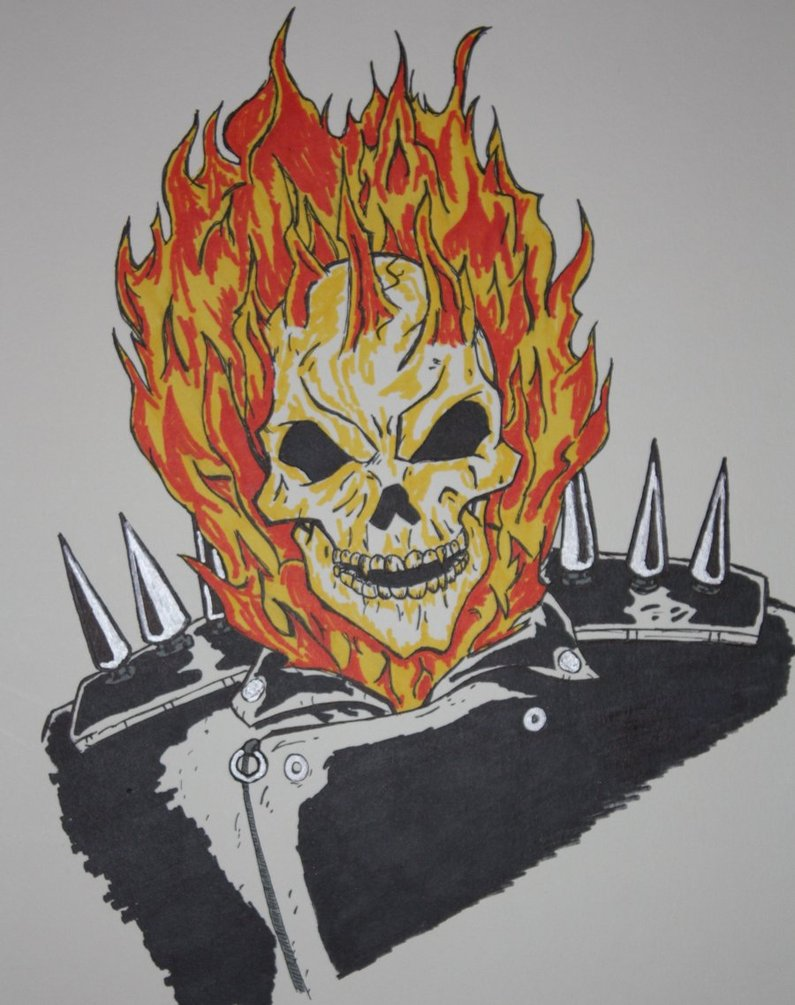 795x1005 Ghost Rider Marker Drawing By Frick21