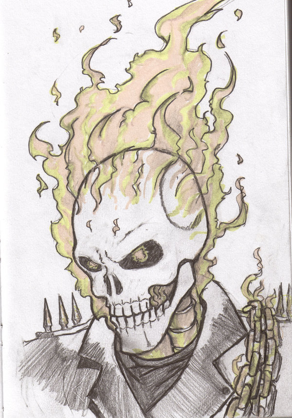 600x857 Ghost Rider Head By Flam