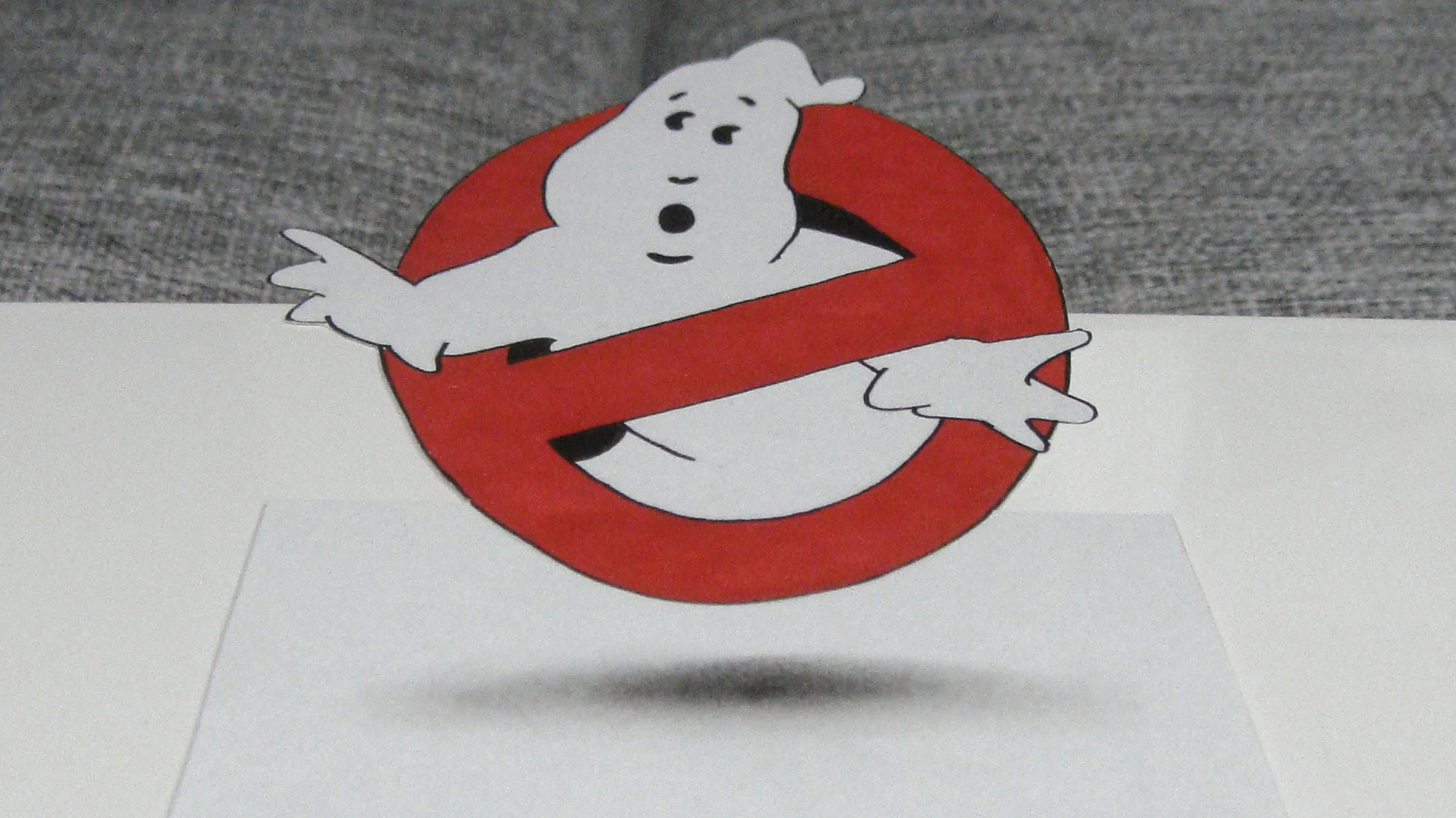 1920x1080 Speed Drawing Ghostbusters Logo 3d Artwork