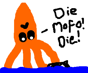 300x250 Giant squid wit a feather tiara drowns afro guy