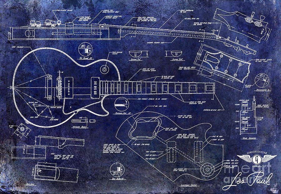 900x622 Gibson Les Paul Blueprint Drawing By Jon Neidert Music Stuff