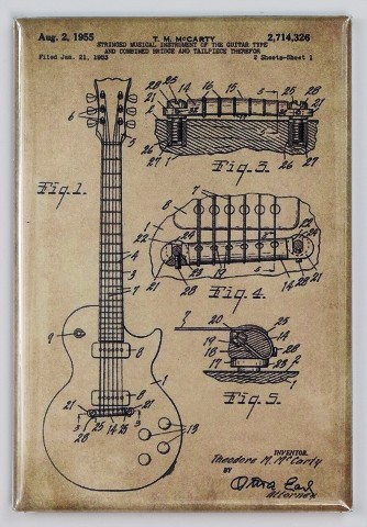334x480 Gibson Les Paul Guitar Patent Drawing Fridge Magnet Drawing Blue