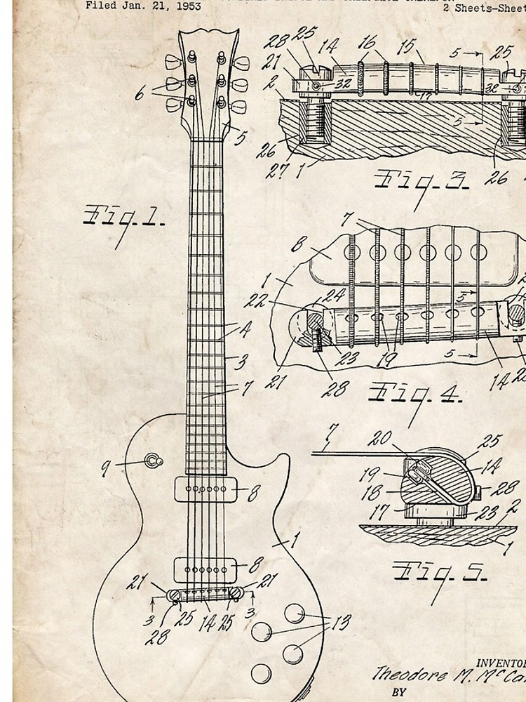 750x1000 Gibson Les Paul Guitar Us Patent Art 1955 Iphone Cases Amp Skins By