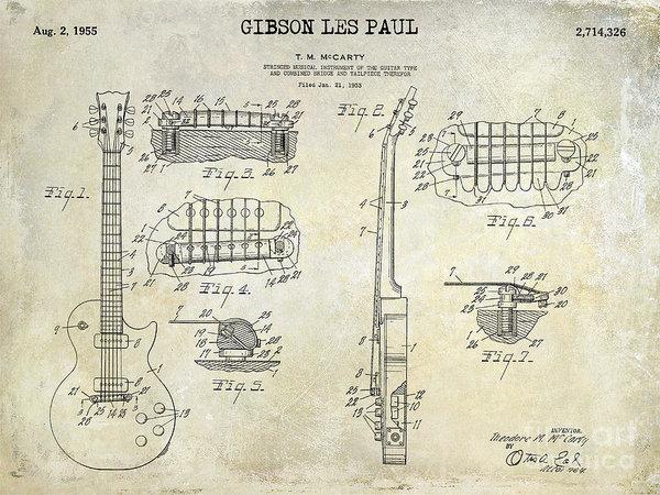 600x450 Gibson Les Paul Patent Drawing Art Print By Jon Neidert Gibson