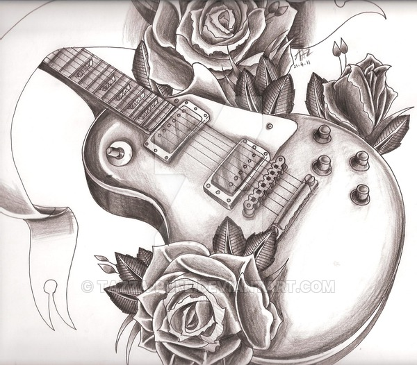 600x526 Gibson Les Paul + Roses By Tazza Pufe