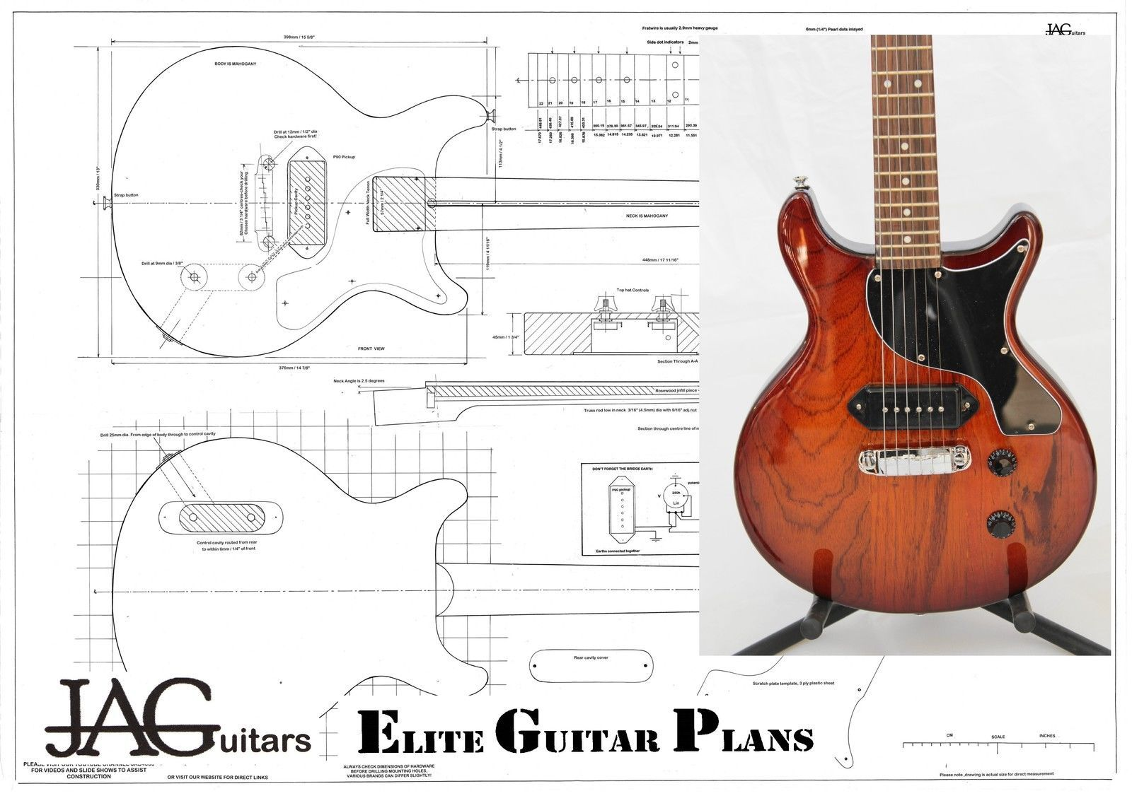 Gibson Les Paul Drawing At Free For Personal Use 50s Wiring Diagram 1600x1126 Luthiers Project Plandrawing Junior Double