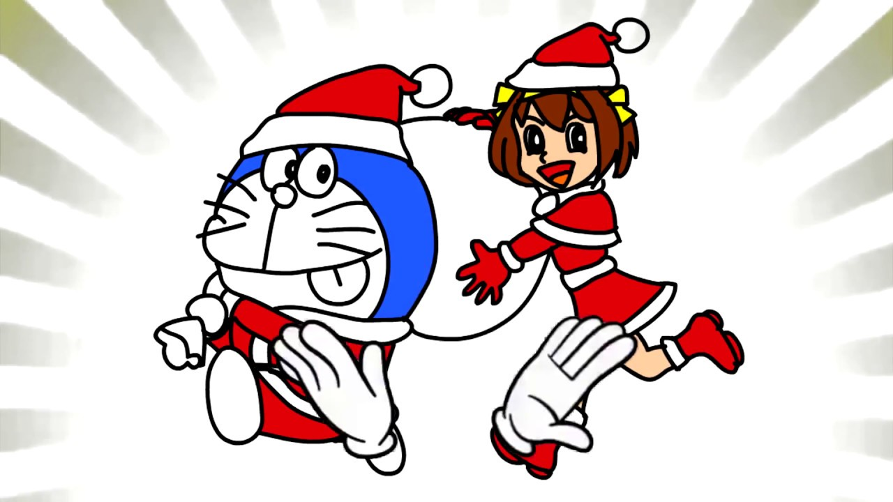 1280x720 Santa Claus Doraemon Giving Gifts Drawing And Coloring Doraemon